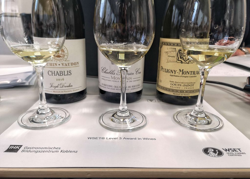 WSET Level 3 Koblenz London Wine Spirits Education Trust Burgundy Burgund Chablis Puligny Montrachet Louis Jadot Premier Cru Village