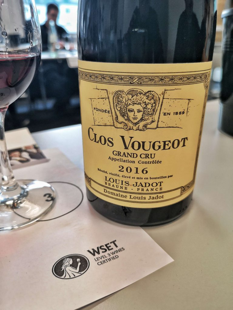 WSET Level 3 Koblenz London Wine Spirits Education Trust Burgund Burgundy Louis Jadot Clos Vougeot 2016 Vintage Grand Cru