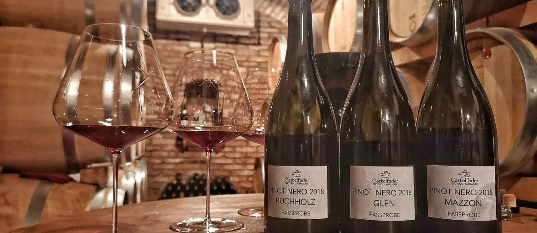 Castelfeder Pinot Nero Buchholz Glen Mazzon Fassprobe Zalto Weinkeller Cellar