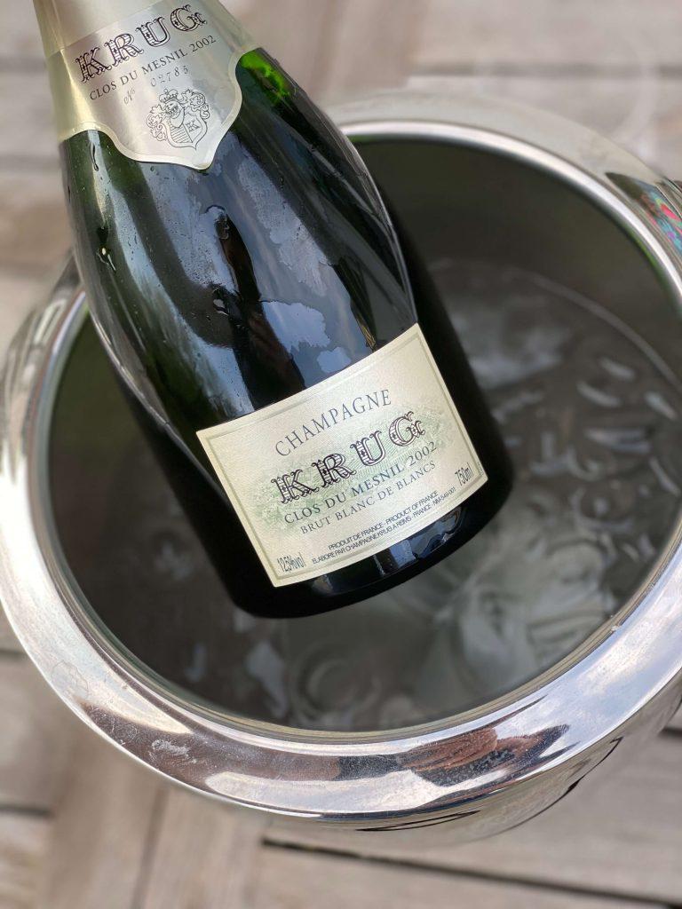 Maison Krug Clos du Mesnil Blanc de Blancs Label Chardonnay Portrait 2002 Vintage